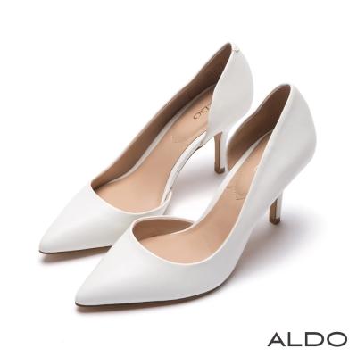 ALDO-簡約原色幾何不對稱尖頭細高跟鞋-氣質白色