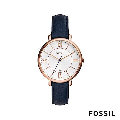 FOSSIL JACQUELINE 真皮女錶-藍色 約36mm ES3843