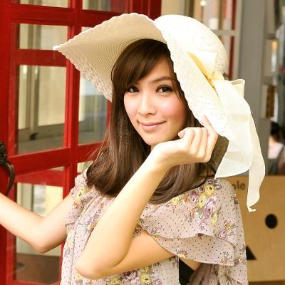 Aimee-Toff-精緻層次大帽沿遮陽帽-米白