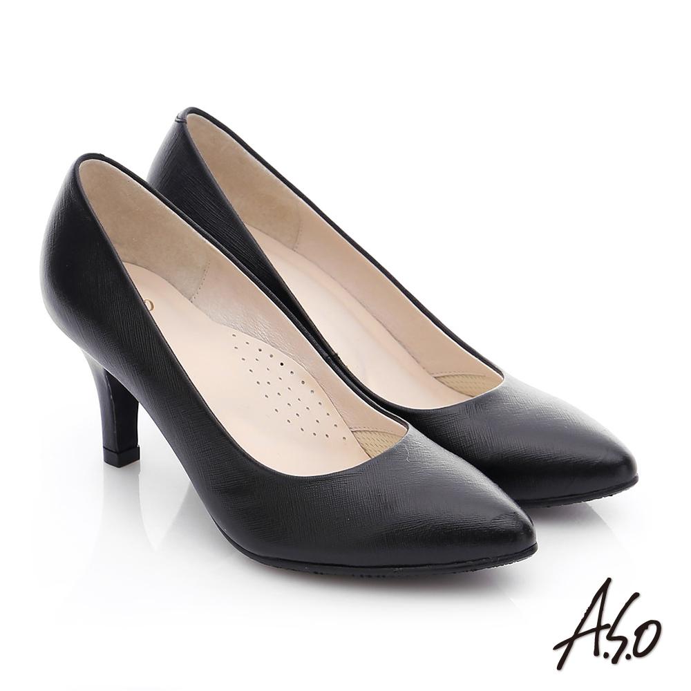 A.S.O 優雅美型 全真皮素色窩心高跟鞋 黑