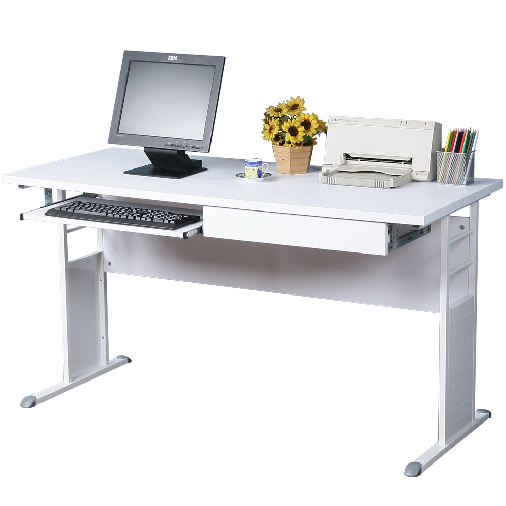 Homelike 巧思140x60辦公桌(附抽屜+鍵盤架)-白桌面/亮白桌腳