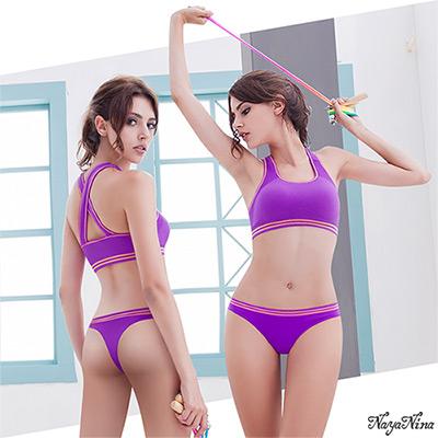 運動內衣 防震無鋼圈運動內衣褲組(寬肩+丁字褲)-紫色 Naya Nina