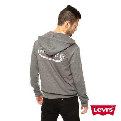 Levis-簡約時尚刷毛長袖連帽外套-男-深灰色