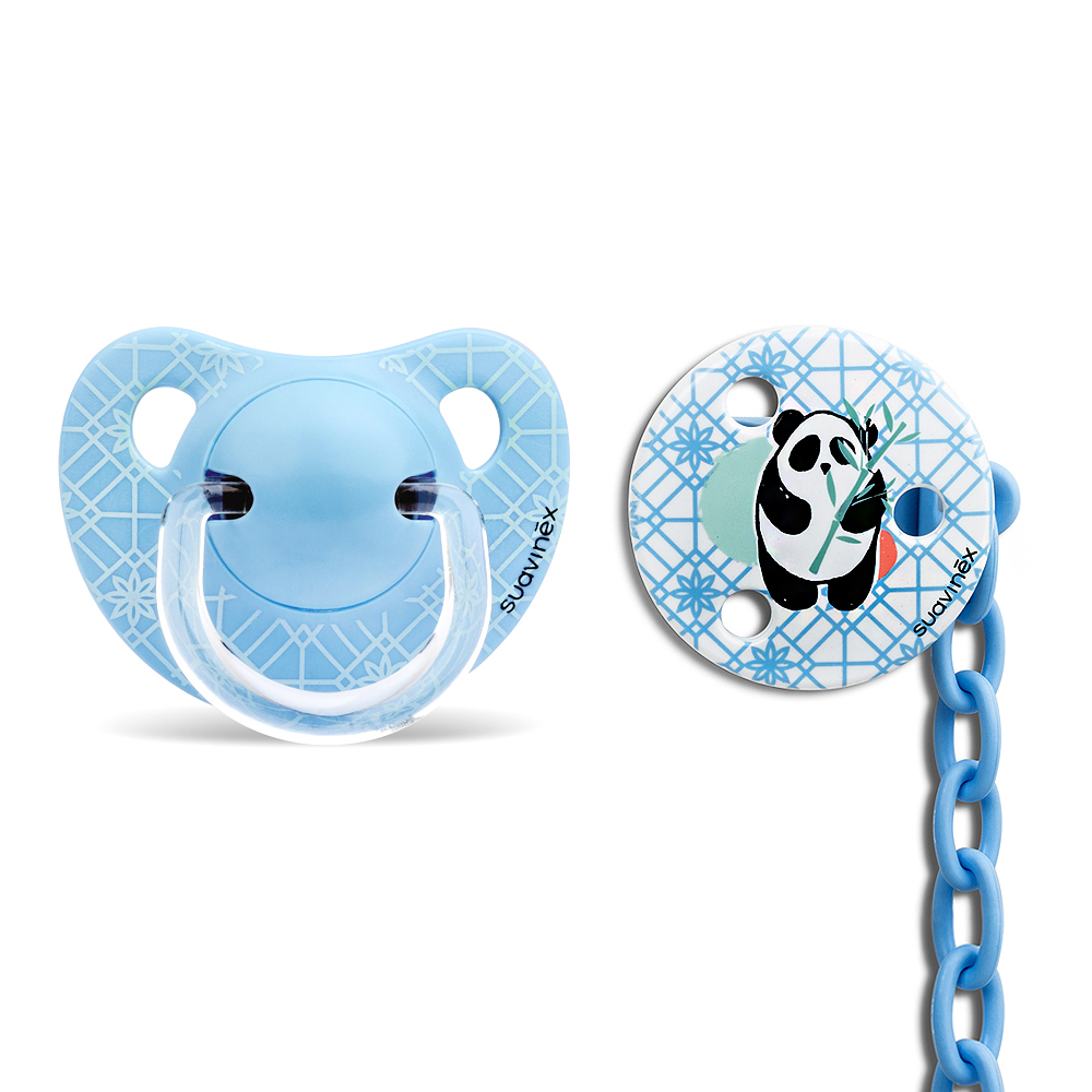 奇哥 suavinex 安撫奶嘴掛鍊組-藍熊貓