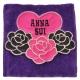ANNA SUI 優美玫瑰愛心字母刺繡圖騰機能方巾袋(紫) product thumbnail 1