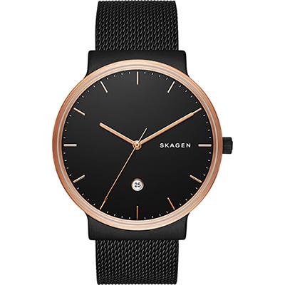 SKAGEN 北歐時尚石英米蘭腕錶-鍍黑/40mm