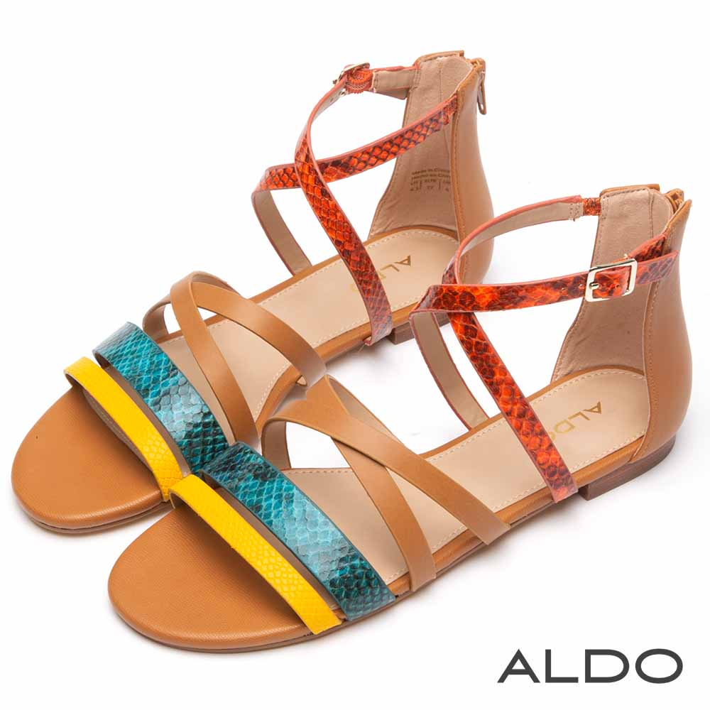 ALDO 彩色動物紋交叉繫帶後拉鍊式木紋粗跟涼鞋~蛇紋棕色