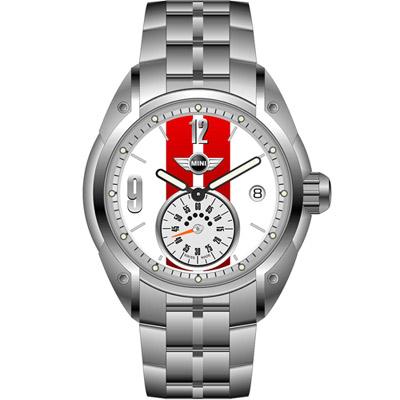 MINI Swiss Watches  休閒運動腕錶-白x紅鋼帶款/45mm