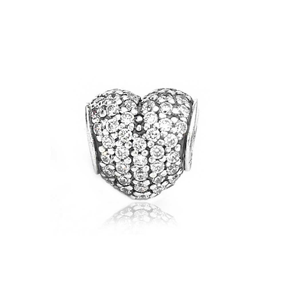 Pandora 潘朵拉 心型水鑽 純銀墜飾 串珠