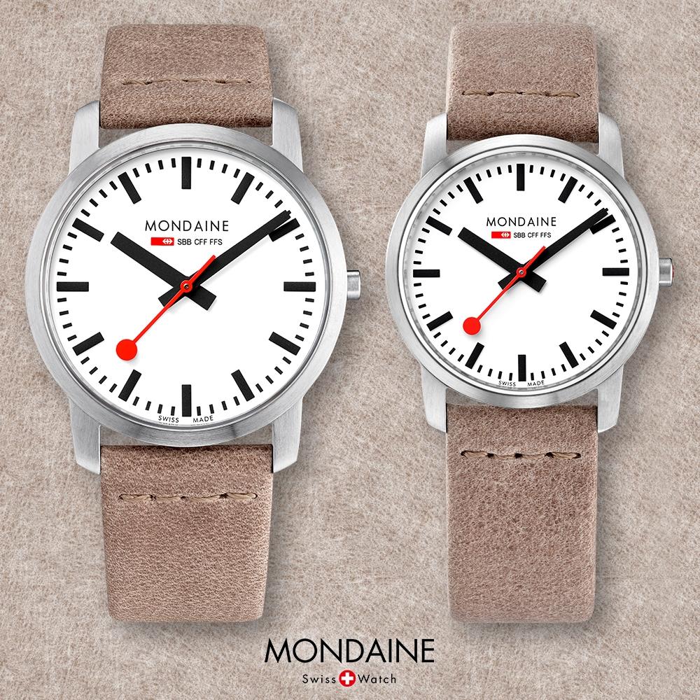 MONDAINE 瑞士國鐵 超薄系列腕錶-白x駝色錶帶/36+41mm