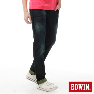 EDWIN-AB褲迦績褲JERSEYS剪接立體牛仔褲-男-原藍磨