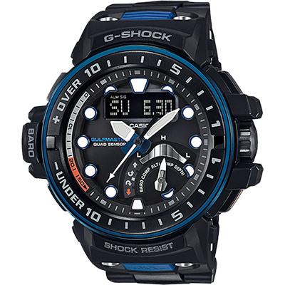 CASIO卡西歐 G-SHOCK MASTER 海軍進階版太陽能電波手錶-藍/57.3mm