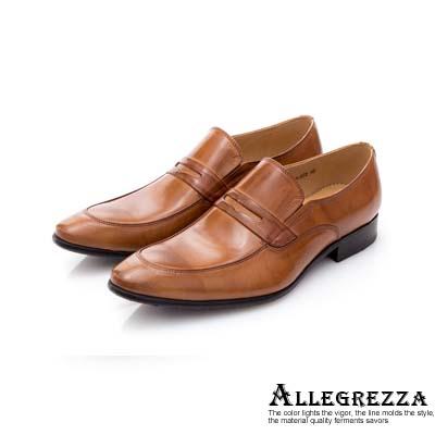 ALLEGREZZA-真皮男鞋-吸睛魅力-仿舊刷色牛皮尖頭便鞋  焦糖色