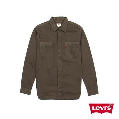 男款純棉翻領長袖襯衫-復古軍綠-Levis