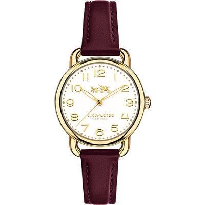 Coach Delancey MINI馬車圖騰腕錶(14502613)-咖啡紅/28mm