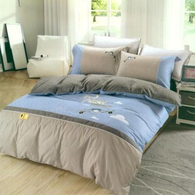 eyah宜雅 刺繡+貼布繡精緻精梳棉單人床包兩用被三件組 夢中旅行