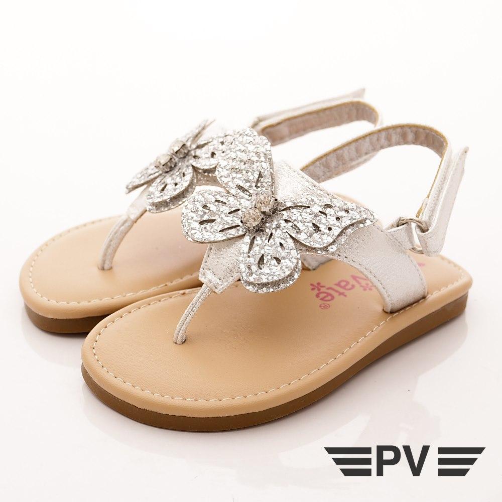 PV日系私藏 閃耀蝴蝶夾腳涼鞋款 EI302銀(寶寶段)