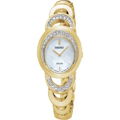 SEIKO SOLAR 施華洛世奇晶鑽手鍊女錶(SUP298P1)-珍珠貝x金/23mm
