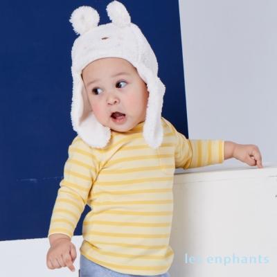 麗嬰房les enphants舒柔保暖彈力條紋上衣鵝黃