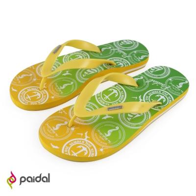 Paidal 男款漸層印花足弓夾腳拖人字拖鞋-黃綠