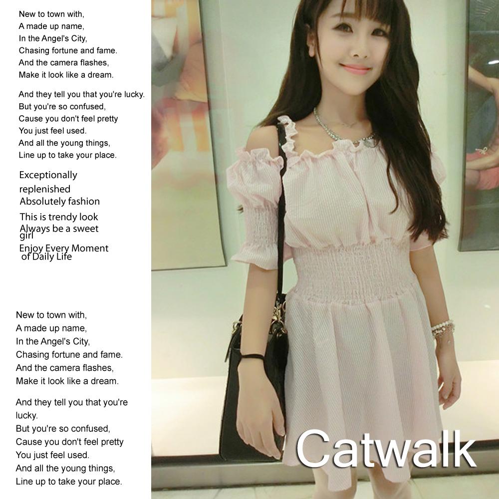 洋裝 格紋一字領露肩縮腰洋裝(粉)-Catwalk
