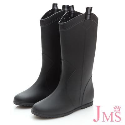 JMS-百搭素面輕薄型中筒雨靴-黑色
