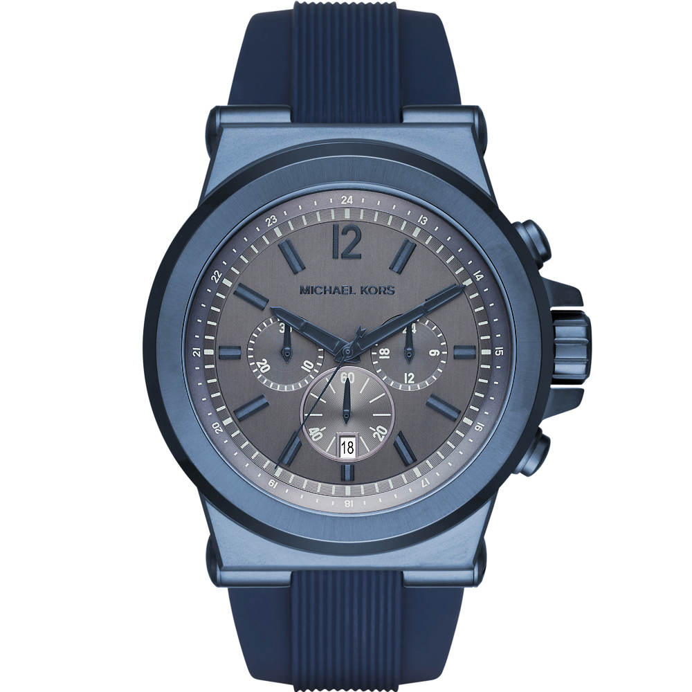 MICHAEL KORS 品味質感三眼計時手錶-藍/48mm?