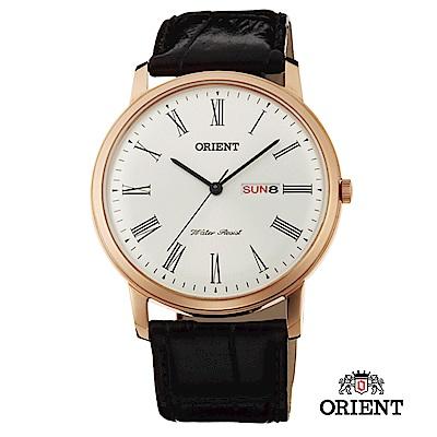 ORIENT 東方錶 CLASSIC DESIGN系列 羅馬數字日期星期顯示石英錶 玫瑰金