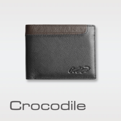 Crocodile 荔紋皮革短夾-簡潔薄款 0103-61561