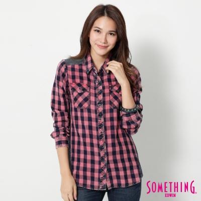 SOMETHING 拼接丹寧格紋長袖襯衫-女-桔紅