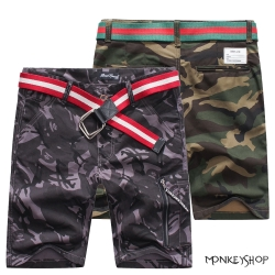 小猴子的賣場 韓版軍裝風休閒迷彩五分短褲-2色 太陽的後裔