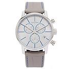 CK Calvin Klein 時尚灰x藍皮革手錶(K2G271Q4)-灰面/43mm