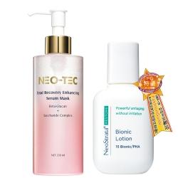 NEO-TEC妮傲絲翠 敏感肌保濕水嫩組(葡聚醣精華面膜+乳糖酸乳液)