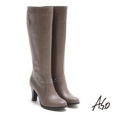 A.S.O 都會時尚 閃鑽微笑曲線靜音奈米長靴 灰咖