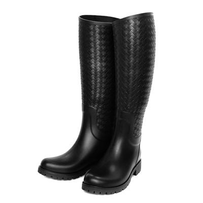 BOTTEGA VENETA經典編織高筒雨靴(黑色)