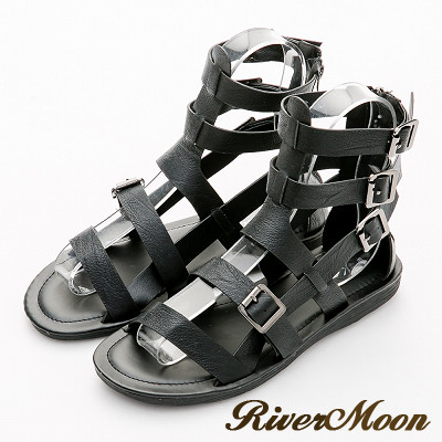 River&Moon涼鞋-率性魚骨編織扣環平底羅馬涼鞋-黑