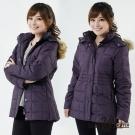 【遊遍天下】女款JIS90%羽絨防風防潑水方格保暖羽絨外套A062暗紫