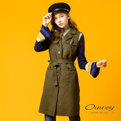 OUWEY歐薇 率性長版背心外套(綠)