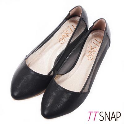 TTSNAP內增高-MIT素面小尖頭透膚網紗平底鞋 黑