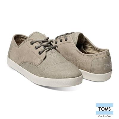 TOMS 皮革混水洗帆布休閒鞋-男款