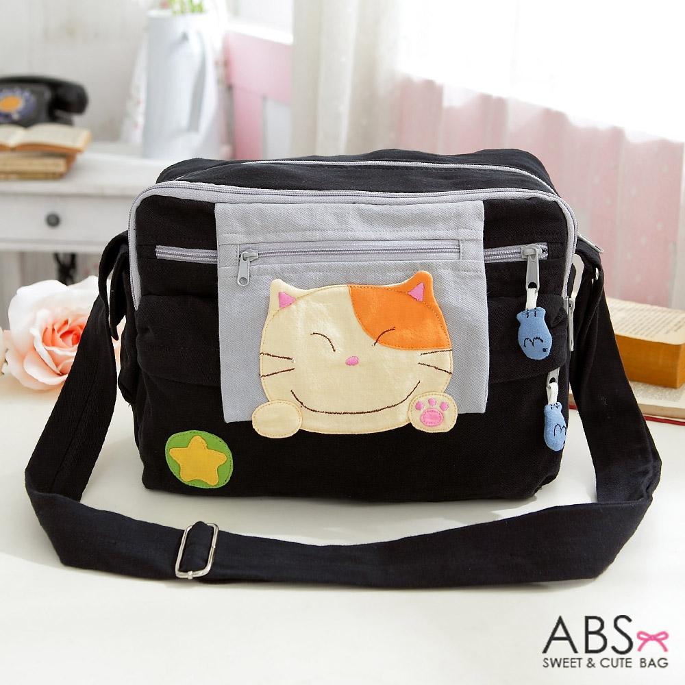 ABS貝斯貓 可愛貓咪拼布包 肩背包/斜背包88-173 - 個性黑