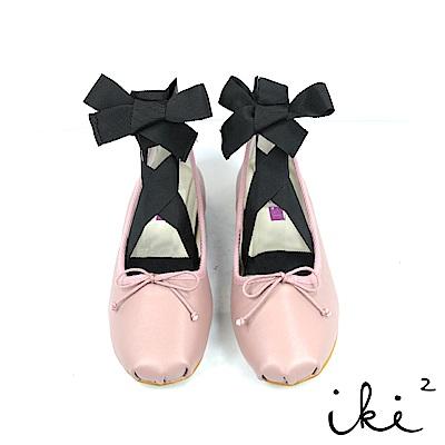 iki2可愛女伶 真皮舒適芭蕾平底綁帶鞋-粉