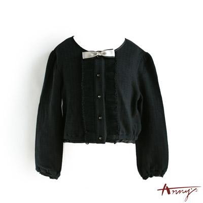 可愛圓領荷葉水鑽鈕扣開襟外套*1280黑