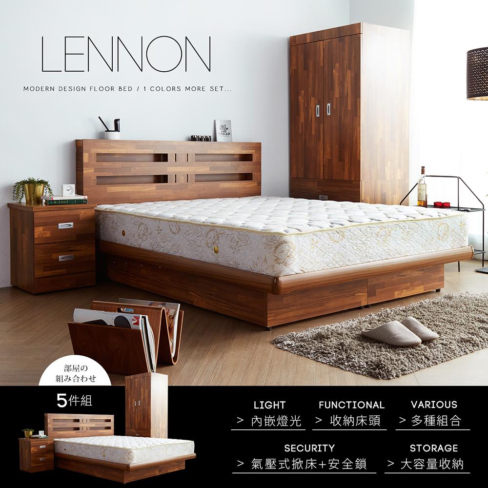 藍儂田園鄉村風系列雙人房間掀床組5件式-床頭+掀床+二櫃+床墊+衣櫃