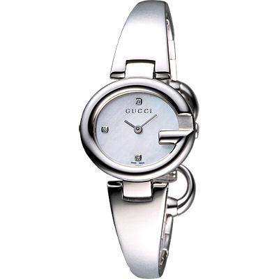 GUCC I Guccissima 時尚真鑽手鐲腕錶-珍珠貝/27mm