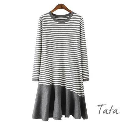 圓領條紋拼接針織洋裝-共二色-TATA
