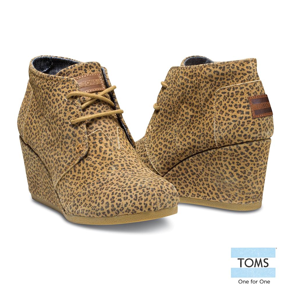 TOMS 麂皮豹紋楔型鞋-女款(黃)