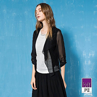 ILEY伊蕾 縷空蕾絲裝飾輕薄雪紡外套(黑/白)