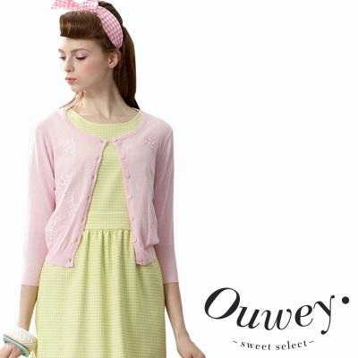 OUWEY歐薇-圓領排扣手工繡花外套-共4色