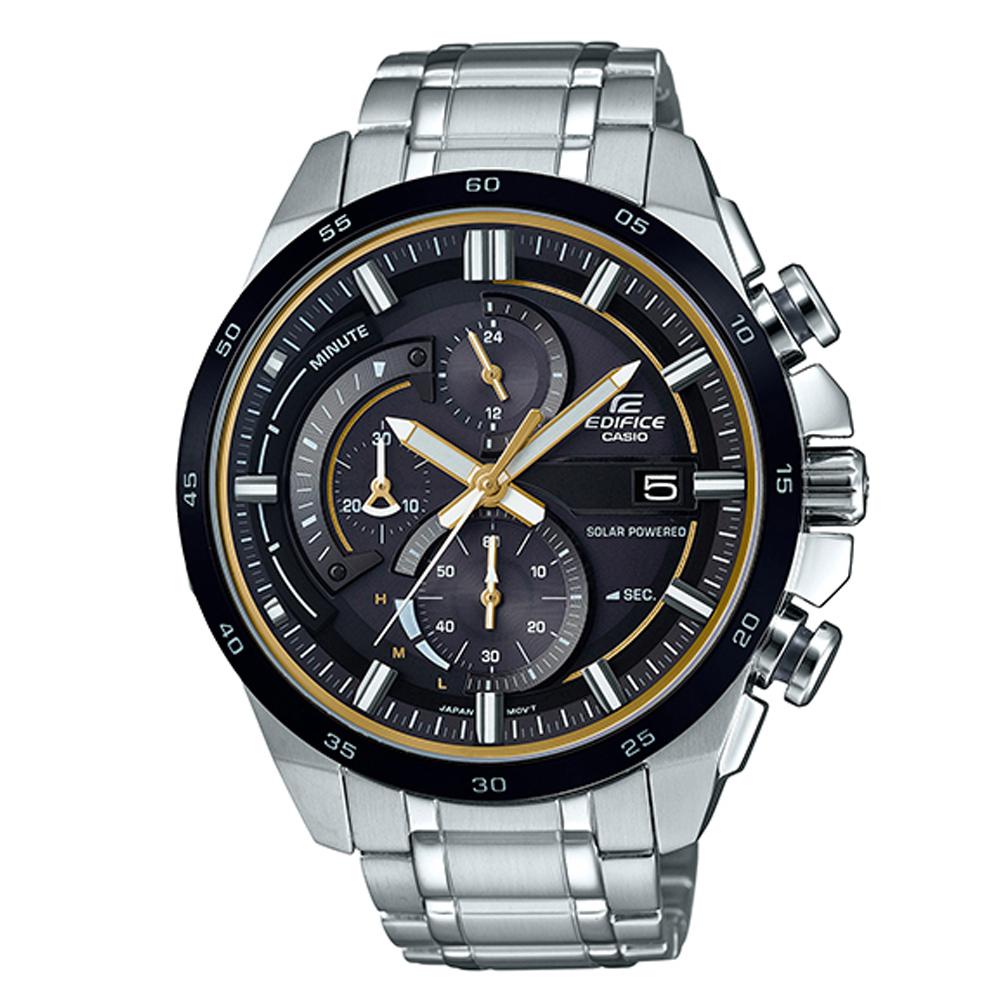 EDIFICE流線速度立體感太陽能計時錶(EQS-600DB-1A9)-黃秒針X黑框/49mm